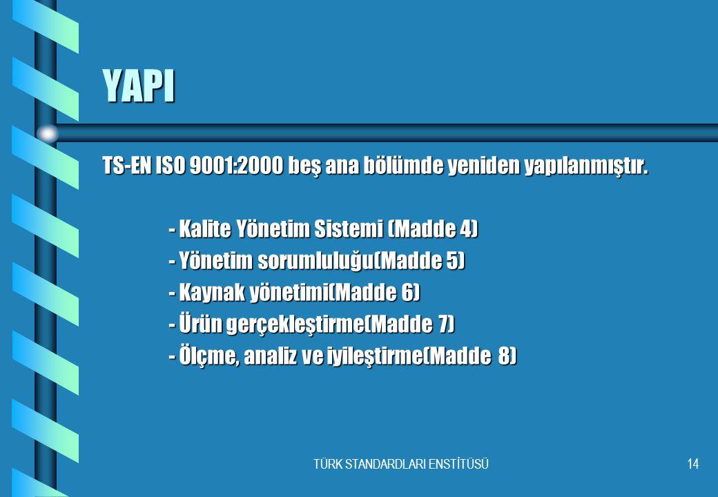 TÜRK STANDARDLARI ENSTİTÜSÜ14 YAPI TS-EN ISO 9001:2000 beş ana bölümde yeniden yapılanmıştır. - Kalite Yönetim Sistemi (Madde 4) - Yönetim sorumluluğu