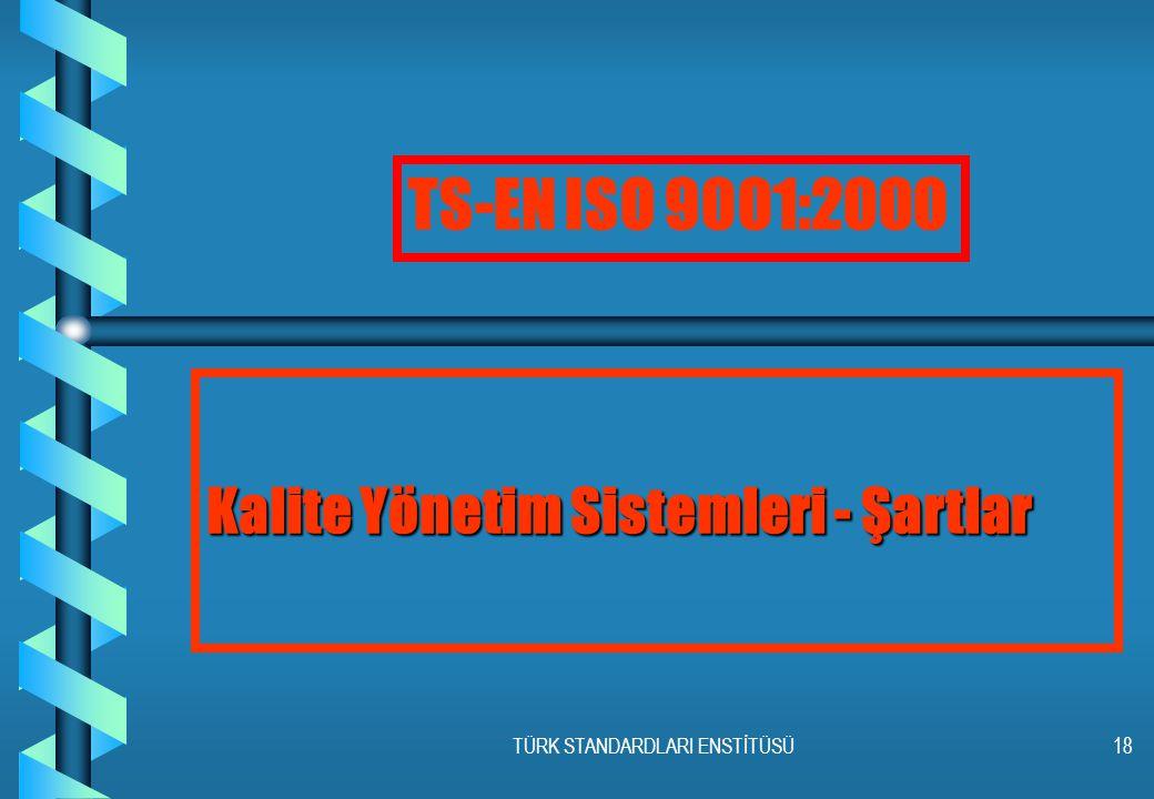 TÜRK STANDARDLARI ENSTİTÜSÜ18 Kalite Yönetim Sistemleri - Şartlar TS-EN ISO 9001:2000