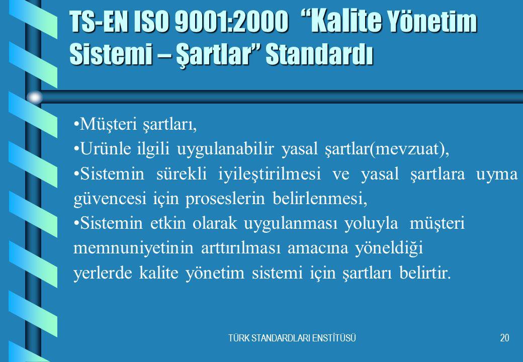 TÜRK STANDARDLARI ENSTİTÜSÜ20 TS-EN ISO 9001:2000 Kalite Yönetim Sistemi – Şartlar Standardı •Müşteri şartları, •Urünle ilgili uygulanabilir yasal şartlar(mevzuat), •Sistemin sürekli iyileştirilmesi ve yasal şartlara uyma güvencesi için proseslerin belirlenmesi, •Sistemin etkin olarak uygulanması yoluyla müşteri memnuniyetinin arttırılması amacına yöneldiği yerlerde kalite yönetim sistemi için şartları belirtir.