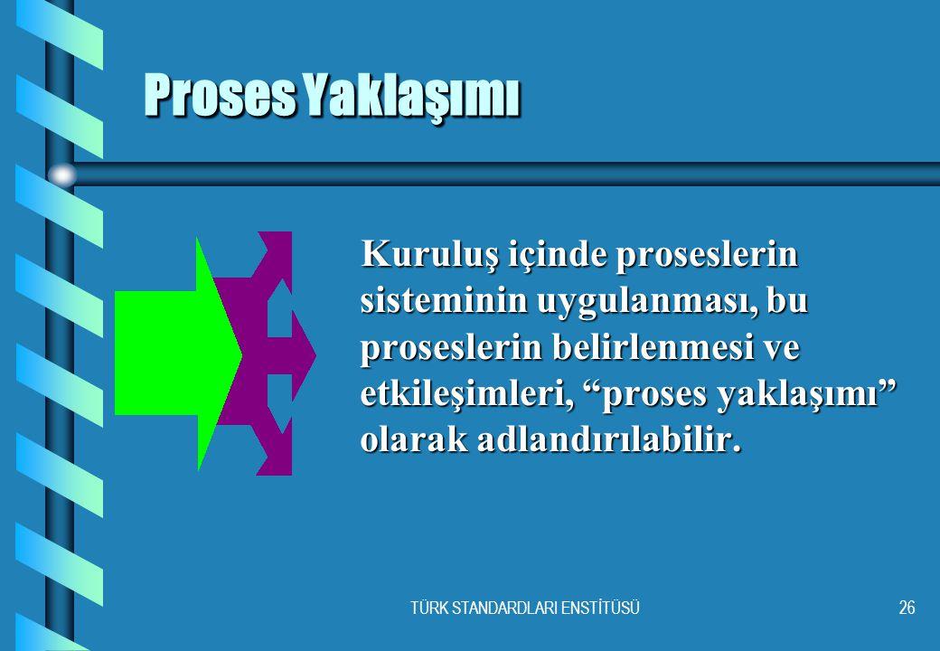 TÜRK STANDARDLARI ENSTİTÜSÜ26 Proses Yaklaşımı Proses Yaklaşımı Kuruluş içinde proseslerin sisteminin uygulanması, bu proseslerin belirlenmesi ve etkileşimleri, proses yaklaşımı olarak adlandırılabilir.