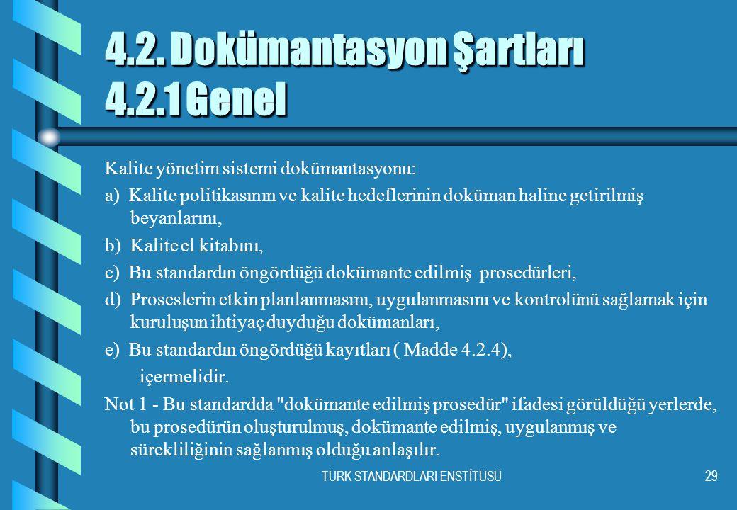 TÜRK STANDARDLARI ENSTİTÜSÜ29 4.2. Dokümantasyon Şartları 4.2.1 Genel Kalite yönetim sistemi dokümantasyonu: a) Kalite politikasının ve kalite hedefle
