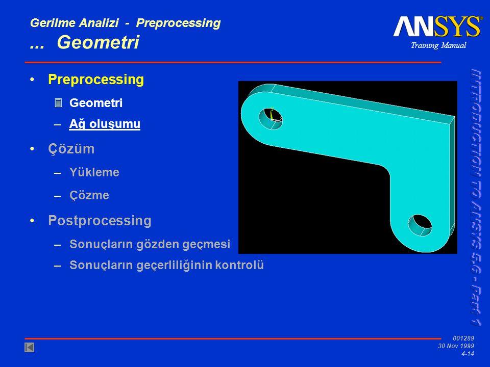 Training Manual 001289 30 Nov 1999 4-14 Gerilme Analizi - Preprocessing...