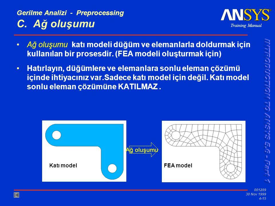 Training Manual 001289 30 Nov 1999 4-15 Gerilme Analizi - Preprocessing C.