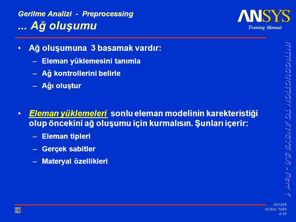 Training Manual 001289 30 Nov 1999 4-16 Gerilme Analizi - Preprocessing...