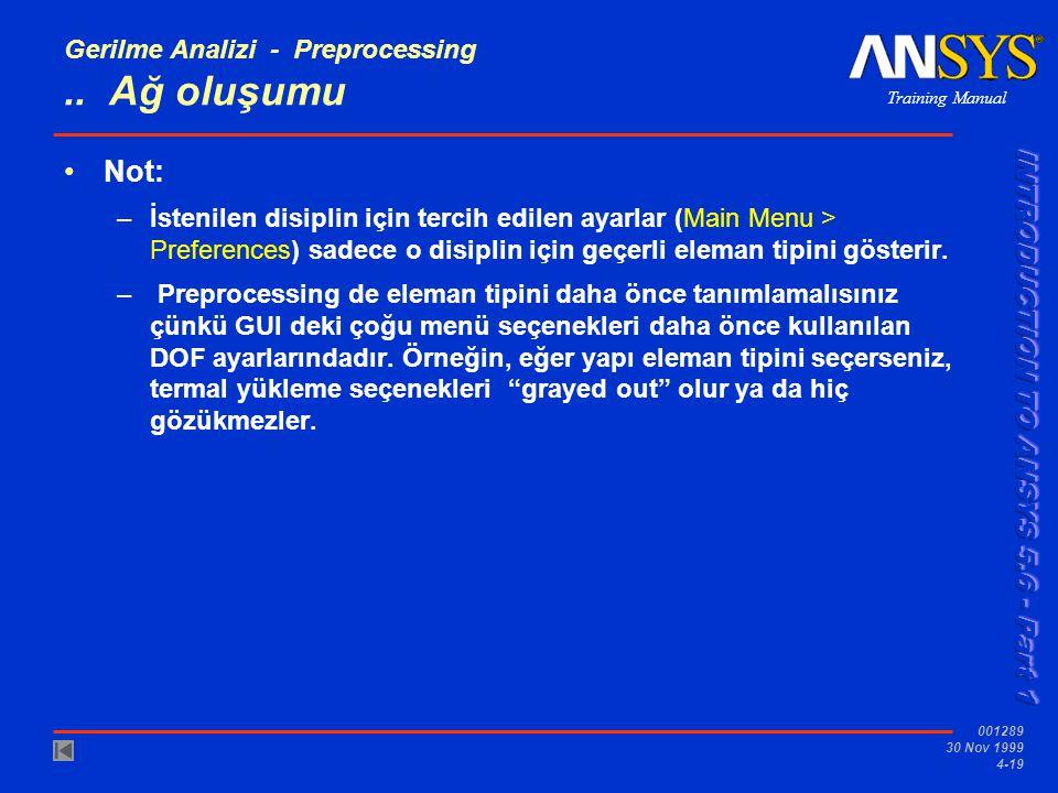 Training Manual 001289 30 Nov 1999 4-19 Gerilme Analizi - Preprocessing..