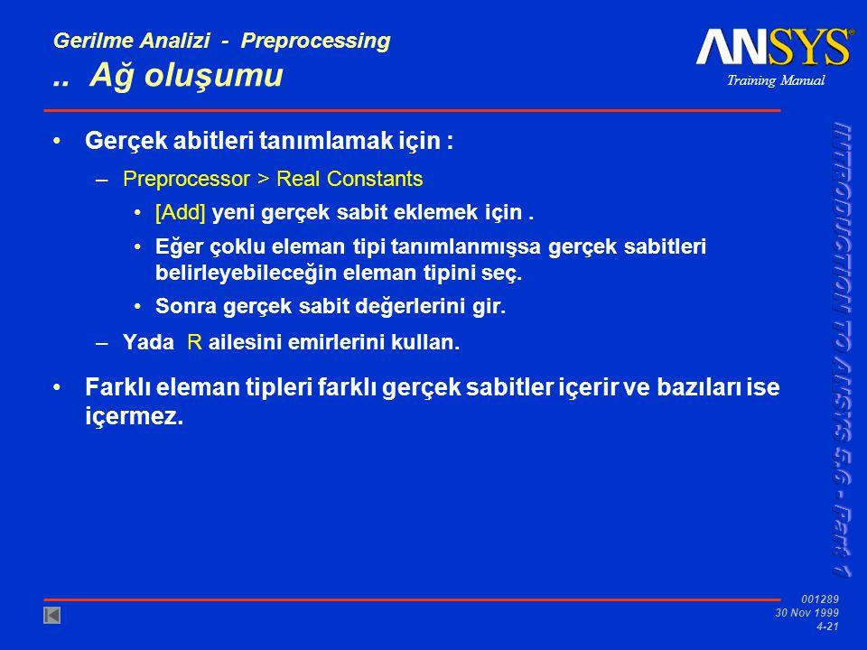 Training Manual 001289 30 Nov 1999 4-21 Gerilme Analizi - Preprocessing..