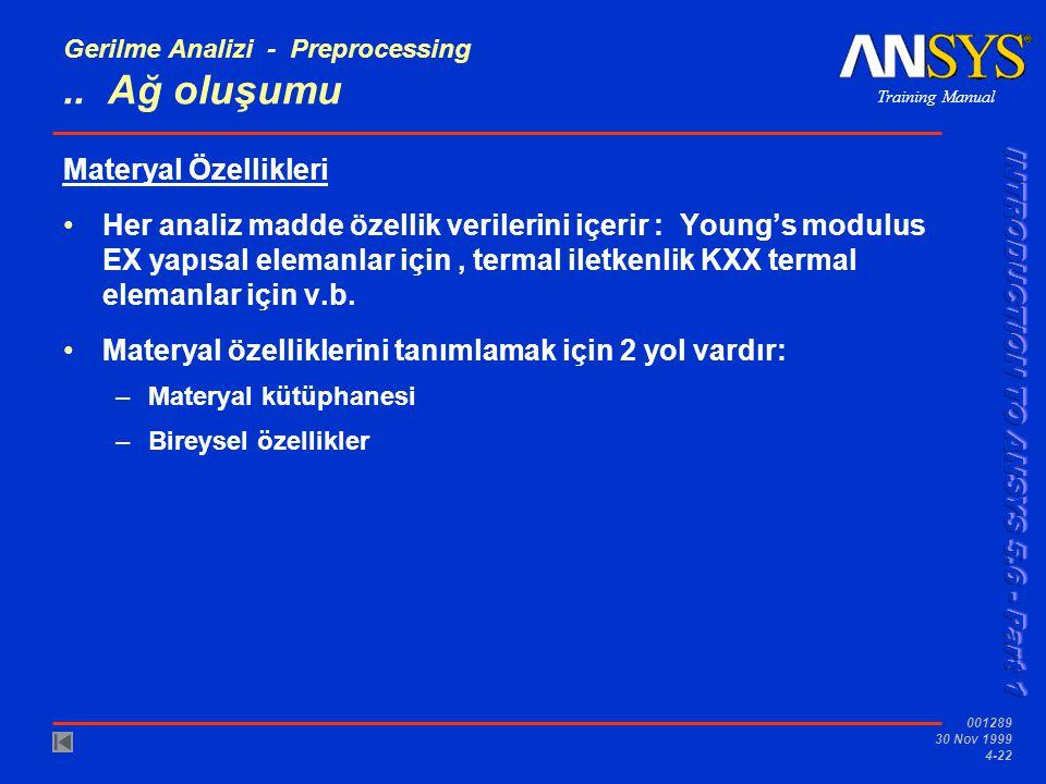Training Manual 001289 30 Nov 1999 4-22 Gerilme Analizi - Preprocessing..