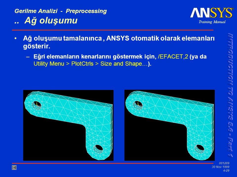 Training Manual 001289 30 Nov 1999 4-29 Gerilme Analizi - Preprocessing..
