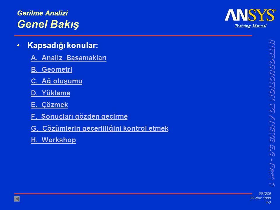 Training Manual 001289 30 Nov 1999 4-3 Gerilme Analizi Genel Bakış •Kapsadığı konular: A.