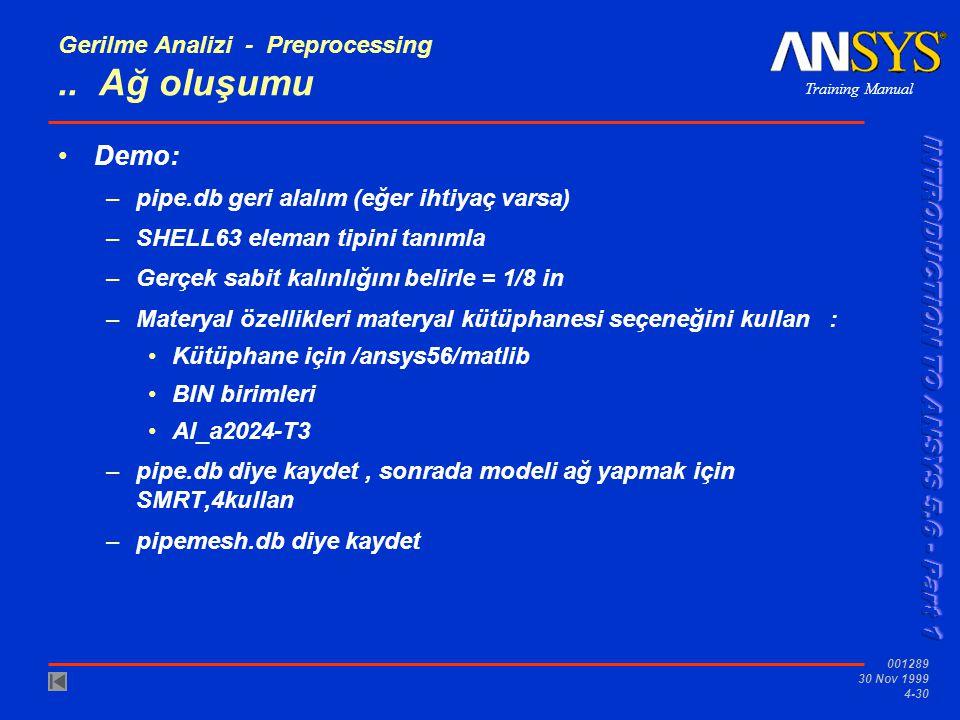 Training Manual 001289 30 Nov 1999 4-30 Gerilme Analizi - Preprocessing..