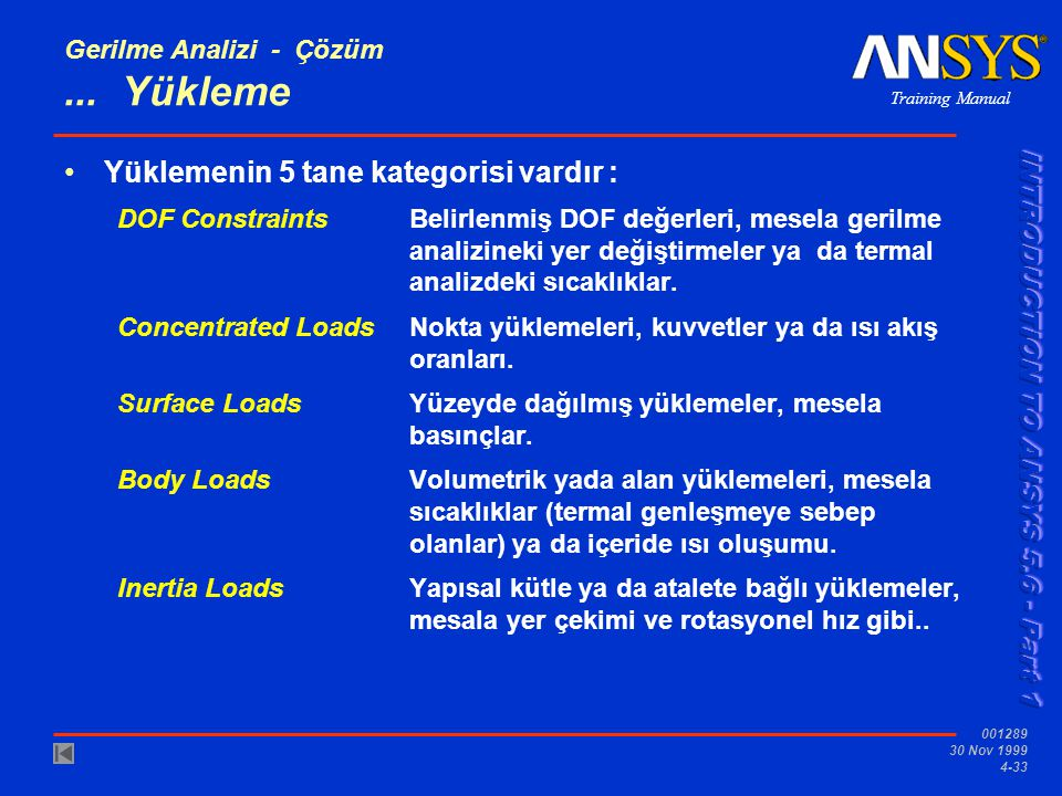 Training Manual 001289 30 Nov 1999 4-33 Gerilme Analizi - Çözüm...