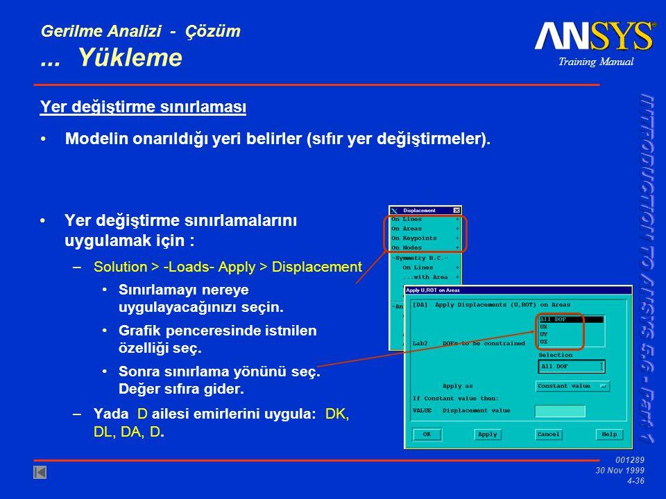 Training Manual 001289 30 Nov 1999 4-36 Gerilme Analizi - Çözüm...