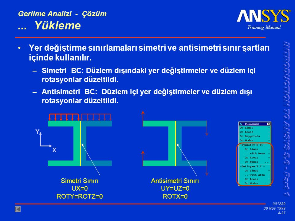 Training Manual 001289 30 Nov 1999 4-37 Gerilme Analizi - Çözüm...
