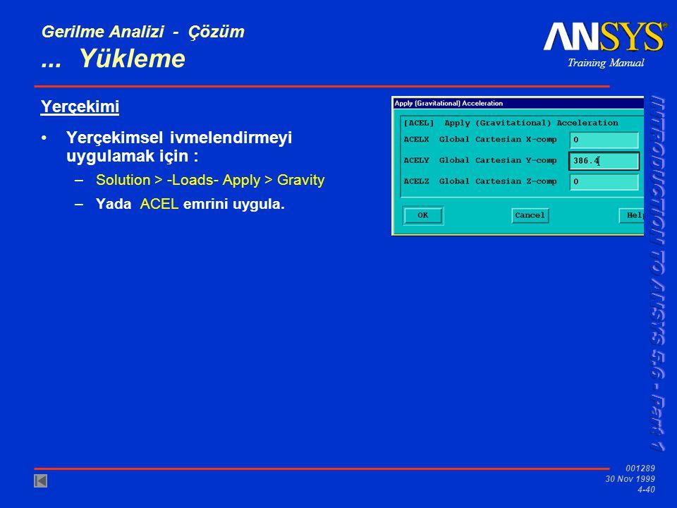 Training Manual 001289 30 Nov 1999 4-40 Gerilme Analizi - Çözüm...