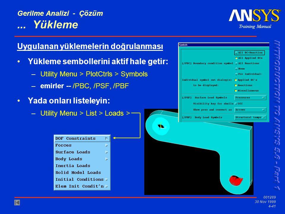 Training Manual 001289 30 Nov 1999 4-41 Gerilme Analizi - Çözüm...