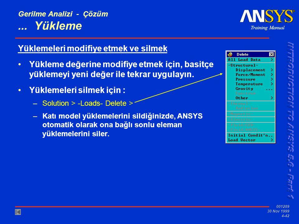 Training Manual 001289 30 Nov 1999 4-42 Gerilme Analizi - Çözüm...