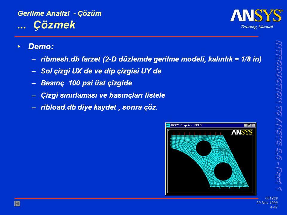 Training Manual 001289 30 Nov 1999 4-47 Gerilme Analizi - Çözüm...