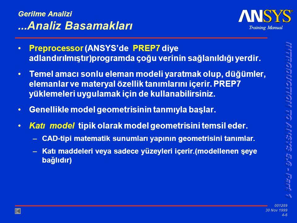 Training Manual 001289 30 Nov 1999 4-6 Gerilme Analizi...Analiz Basamakları •Preprocessor (ANSYS'de PREP7 diye adlandırılmıştır)programda çoğu verinin sağlanıldığı yerdir.