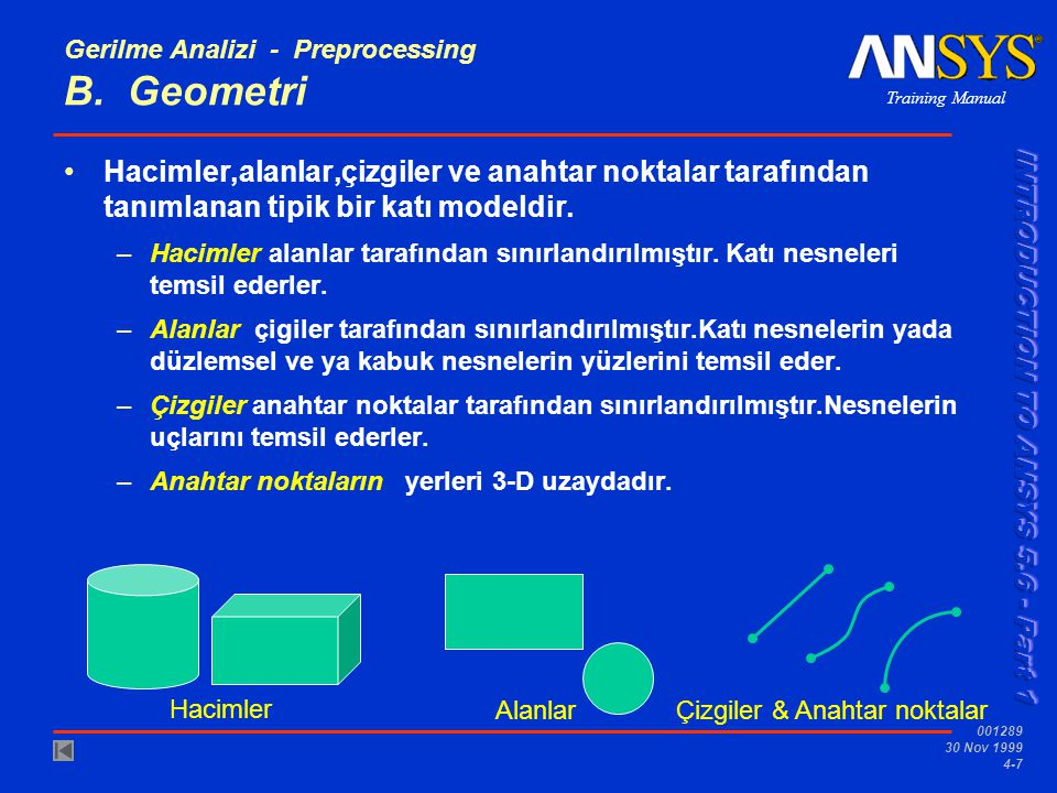 Training Manual 001289 30 Nov 1999 4-18 Gerilme Analizi - Preprocessing..
