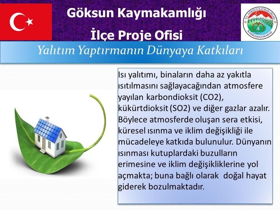 Göksun Kaymakamlığı İlçe Proje Ofisi Yalıtım Yaptırmanın Dünyaya Katkıları Isı yalıtımı, binaların daha az yakıtla ısıtılmasını sağlayacağından atmosfere yayılan karbondioksit (CO2), kükürtdioksit (SO2) ve diğer gazlar azalır.