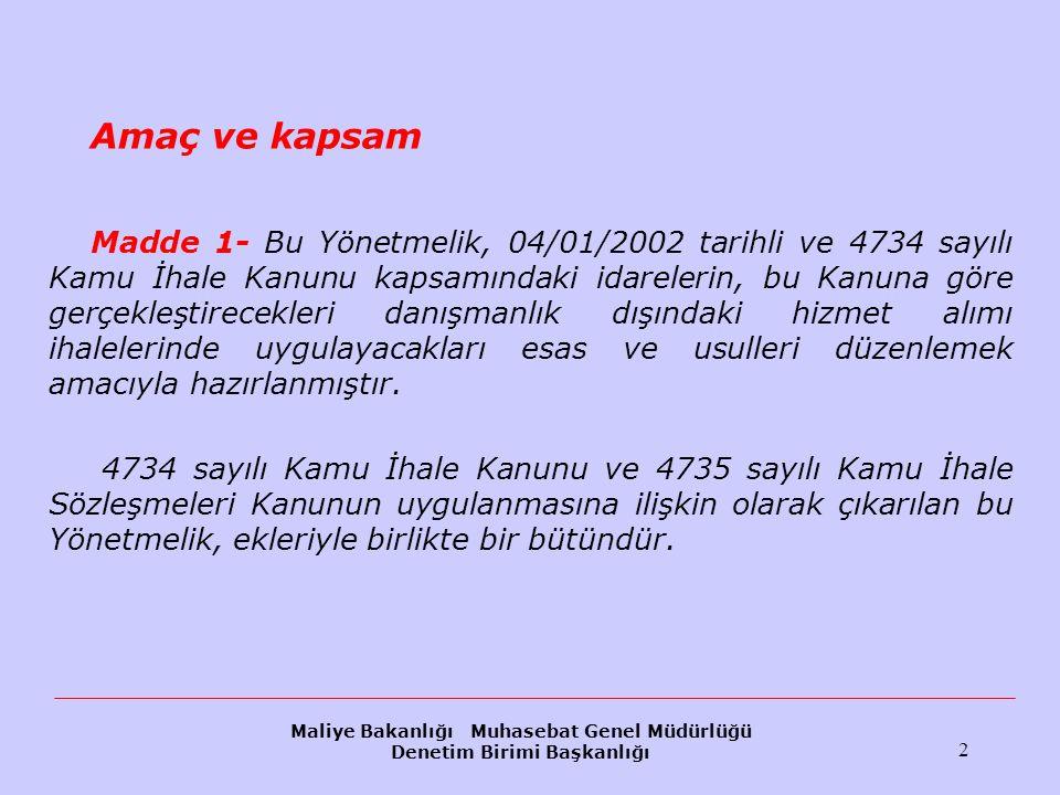 Maliye Bakanlığı Muhasebat Genel Müdürlüğü Denetim Birimi Başkanlığı 83 İhale dışı bırakılma (IV) Birinci fıkranın (d) bendindeki Türkiye'de kesinleşmiş vergi borcu nun değerlendirilmesinde ise, isteklinin; a) Beyan üzerine alınan veya maktu olarak belirlenip ödemesi belirli tarihlerde yapılan vergilerde ödeme vadesi geçmiş olup ödeme yapılmamış ise kesinleşmiş vergi borcu olduğu, b) Resen, ikmalen veya idarece yapılan tarhiyatlara karşı dava açma süresi geçirilmediği sürece, kesinleşmiş vergi borcu olmadığı, c) Resen, ikmalen veya idarece yapılan tarhiyatlara karşı vergi yargısında dava açılmışsa bu dava kesin hükme (karar düzeltme aşaması dahil) bağlanana kadar kesinleşmiş vergi borcu olmadığı, d) Vadesi geçtiği halde ödenmemiş ancak vergi idaresi tarafından taksitlendirilmiş vergi borçlarının, vadesindeki ödemeler aksatılmadığı sürece, kesinleşmiş vergi borcu olmadığı,