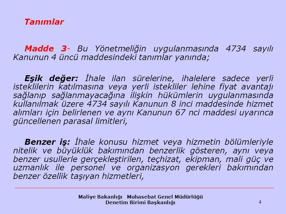 Maliye Bakanlığı Muhasebat Genel Müdürlüğü Denetim Birimi Başkanlığı 115 Tekliflerin değerlendirilmesi(II) İdari şartnamede Türk Lirası veya başka para birimleri cinsinden teklif verilebileceği öngörülen ihalelerde tekliflerin değerlendirilmesi, teklif edilen bedellerin ihale tarihindeki Türkiye Cumhuriyet Merkez Bankası döviz alış kuru veya çapraz kur üzerinden ödemeye esas para birimine çevrilmesi suretiyle yapılır.