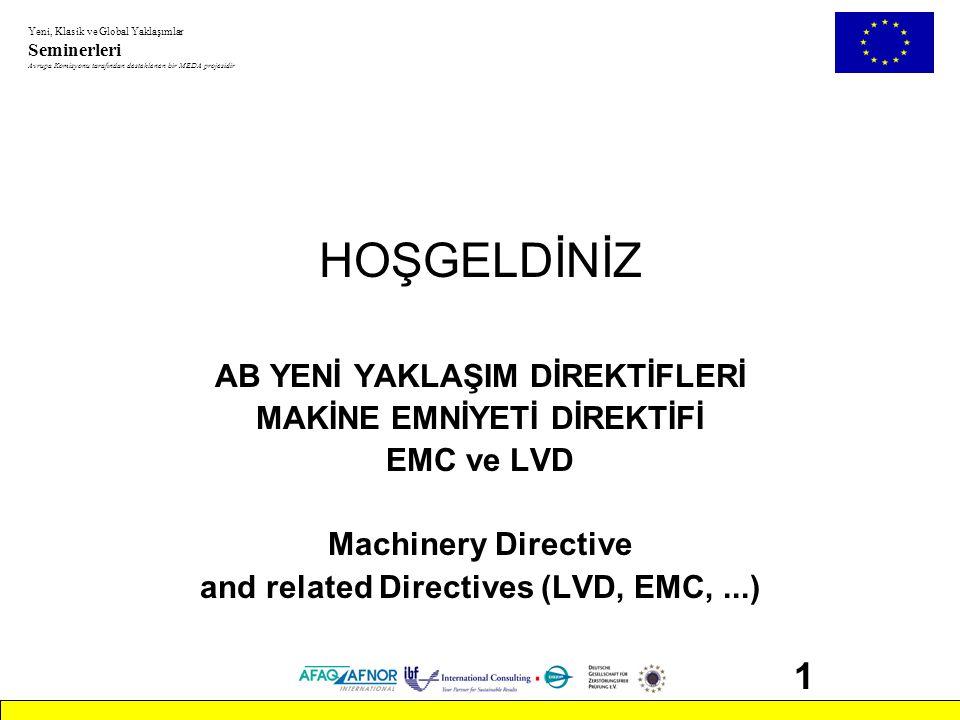 Yeni, Klasik ve Global Yaklaşımlar Seminerleri Avrupa Komisyonu tarafından desteklenen bir MEDA projesidir 42 Makine Emniyeti Direktifi: İçindekiler •Giriş •Bölüm 1: kapsam, piyasaya arz etme ve hareket özgürlüğü •Bölüm 2: belgelendirme prosedürü •Bölüm 3: CE-markalama •Bölüm 4: son hükümler •Ek1 : makine ve emniyet parçalarının tasarım ve yapımı ile ilgili temel sağlık ve güvenlik şartları •Ek 2 : 2A, 2B ya da 2C Beyanları •Ek 3 : CE-markalama •Ek 4 : yüksek risk taşıyan makine ve emniyet parçaları •Ek 5 : AT Uygunluk Beyanı ve teknik yapı dosyası •Ek 6-7 : AT tip incelemesi