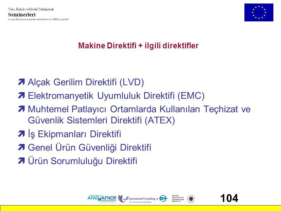 Yeni, Klasik ve Global Yaklaşımlar Seminerleri Avrupa Komisyonu tarafından desteklenen bir MEDA projesidir 104 Makine Direktifi + ilgili direktifler ì