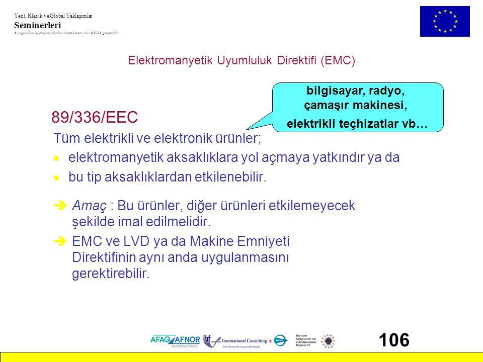 Yeni, Klasik ve Global Yaklaşımlar Seminerleri Avrupa Komisyonu tarafından desteklenen bir MEDA projesidir 106 Elektromanyetik Uyumluluk Direktifi (EM