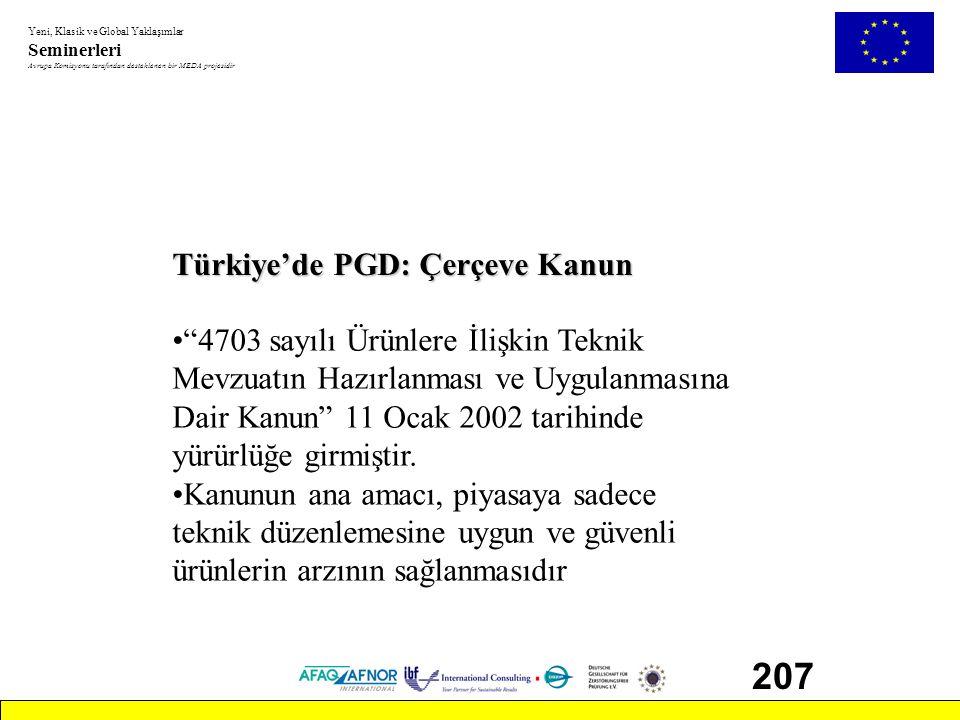 """Yeni, Klasik ve Global Yaklaşımlar Seminerleri Avrupa Komisyonu tarafından desteklenen bir MEDA projesidir 207 Türkiye'de PGD: Çerçeve Kanun •""""4703 sa"""