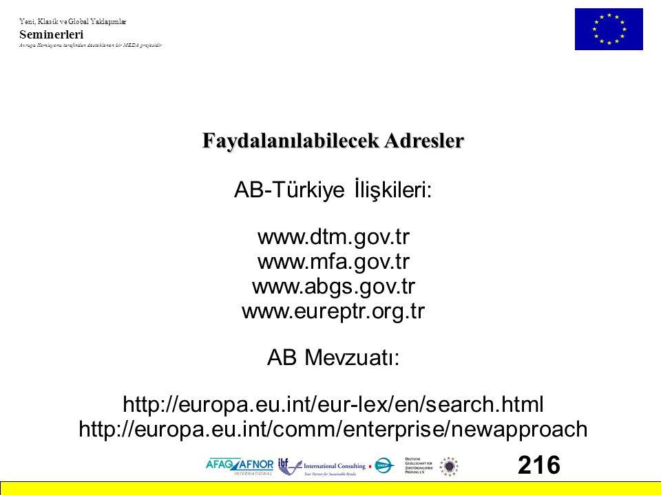 Yeni, Klasik ve Global Yaklaşımlar Seminerleri Avrupa Komisyonu tarafından desteklenen bir MEDA projesidir 216 Faydalanılabilecek Adresler AB-Türkiye