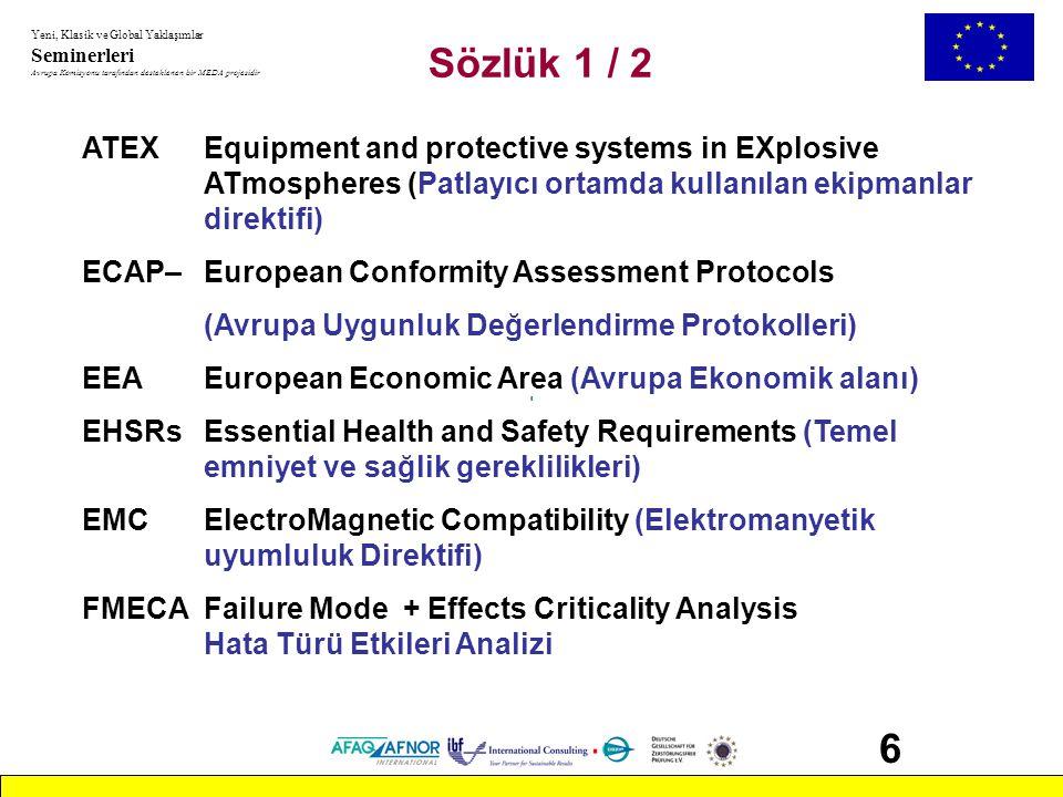 Yeni, Klasik ve Global Yaklaşımlar Seminerleri Avrupa Komisyonu tarafından desteklenen bir MEDA projesidir 97 Seminerin İçeriği 1- Survey about New Approach Directives Yeni Yaklaşım Direktiflerinin Gözden Geçirilmesi 2- Principles and application of MD Makine Emniyeti Direktifinin İlkeleri ve Uygulanması - Prosedürler, Beyan, CE işareti - Temel Sağlık ve Güvenlik şartları - Direktifin kapsamı ve içindekiler - Teknik dosya Ek 5 - Onaylanmış Kuruluşlar - Mevzuata aktarım - İlgili direktifler (LVD, EMC, ATEX vb.) - Avrupa Standartları (EN) - Piyasa gözetimi