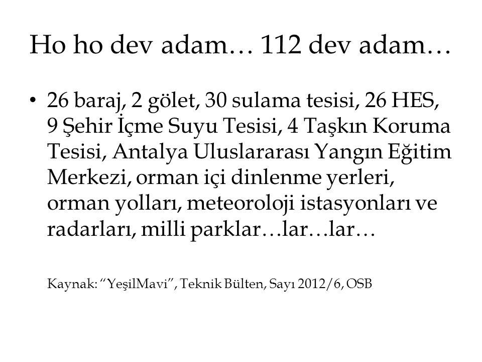 Ho ho dev adam… 112 dev adam… • 26 baraj, 2 gölet, 30 sulama tesisi, 26 HES, 9 Şehir İçme Suyu Tesisi, 4 Taşkın Koruma Tesisi, Antalya Uluslararası Ya