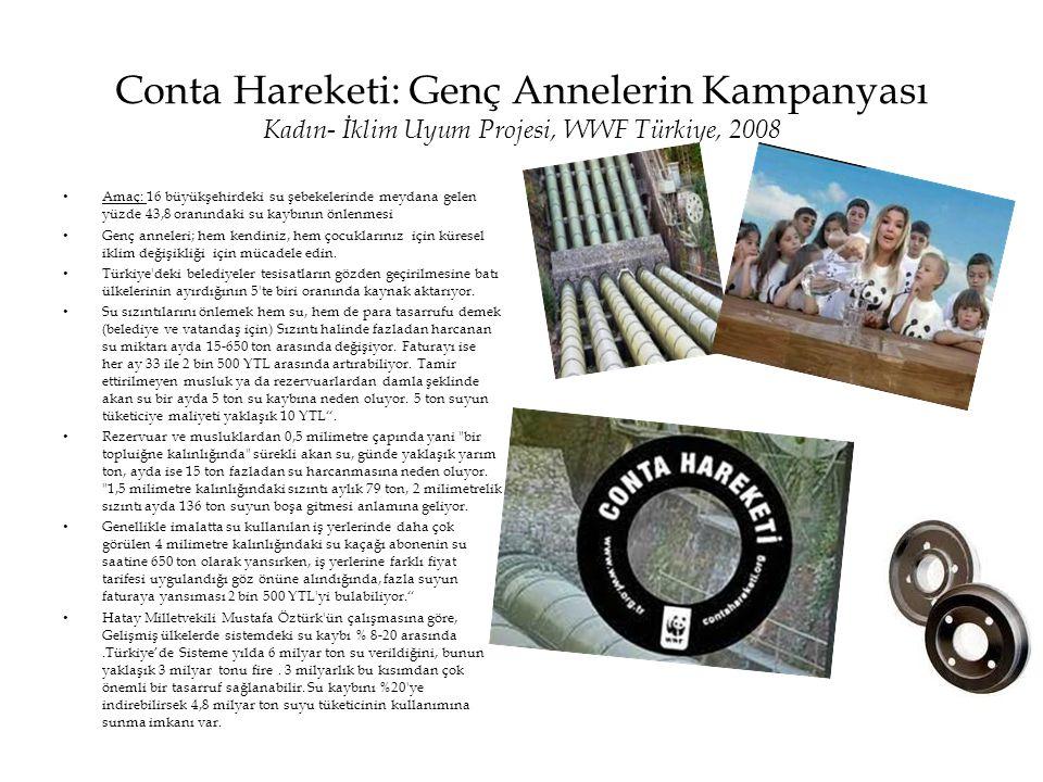 Conta Hareketi: Genç Annelerin Kampanyası Kadın- İklim Uyum Projesi, WWF Türkiye, 2008 • Amaç: 16 büyükşehirdeki su şebekelerinde meydana gelen yüzde