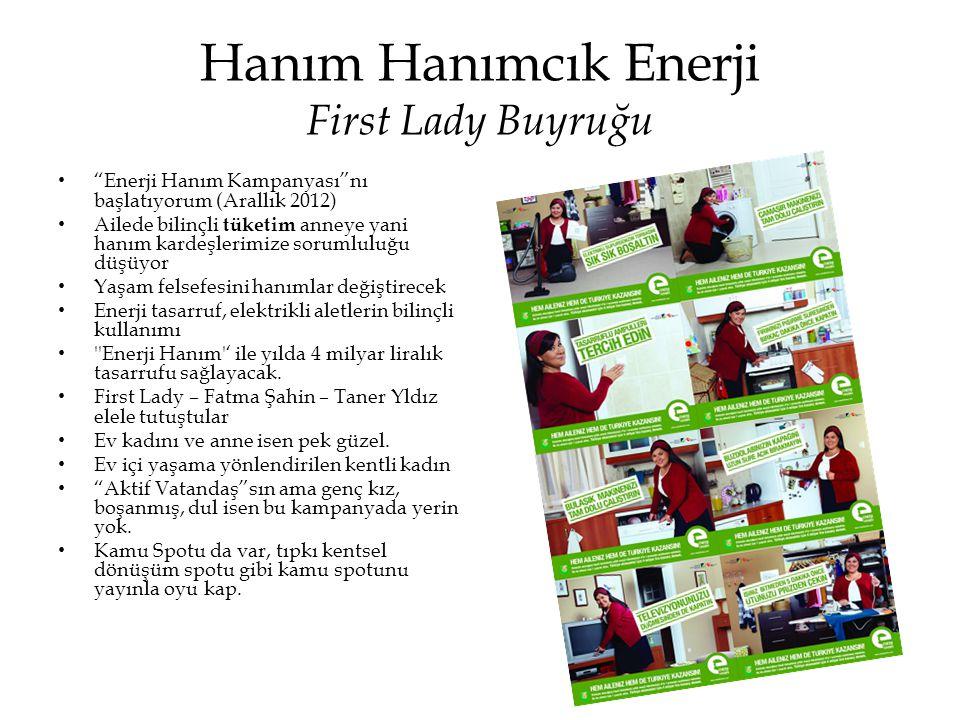 """Hanım Hanımcık Enerji First Lady Buyruğu • """"Enerji Hanım Kampanyası""""nı başlatıyorum (Arallık 2012) • Ailede bilinçli tüketim anneye yani hanım kardeşl"""
