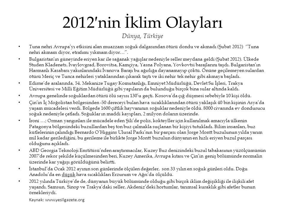 """2012′nin İklim Olayları Dünya, Türkiye • Tuna nehri Avrupa'yı etkisini alan muazzam soğuk dalgasından ötürü dondu ve akmadı (Şubat 2012) """"Tuna nehri a"""