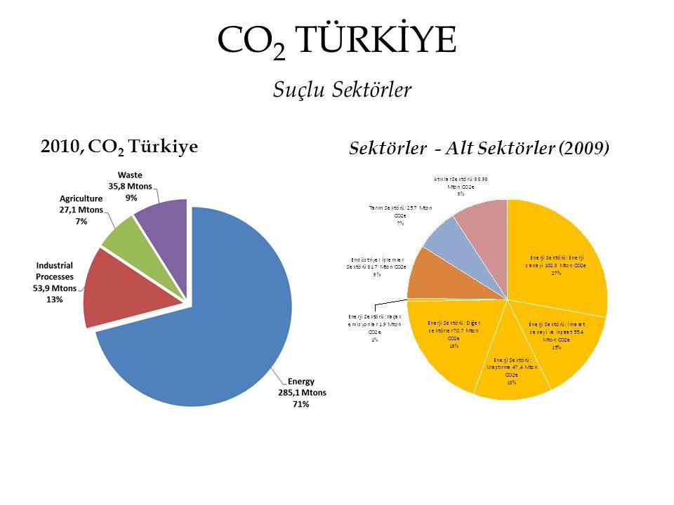 CO 2 TÜRKİYE Suçlu Sektörler 2010, CO 2 Türkiye Sektörler - Alt Sektörler (2009)
