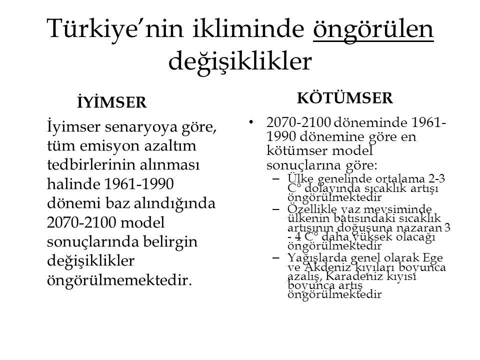 Türkiye'nin ikliminde öngörülen değişiklikler İYİMSER İyimser senaryoya göre, tüm emisyon azaltım tedbirlerinin alınması halinde 1961-1990 dönemi baz