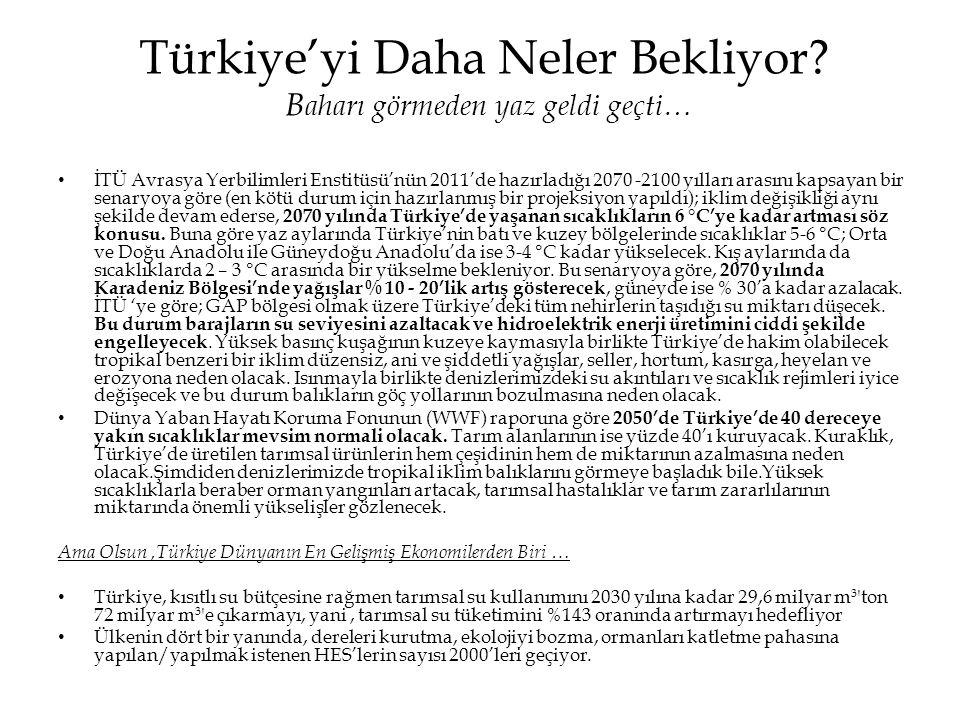 Türkiye'yi Daha Neler Bekliyor? B aharı görmeden yaz geldi geçti… • İTÜ Avrasya Yerbilimleri Enstitüsü'nün 2011'de hazırladığı 2070 -2100 yılları aras