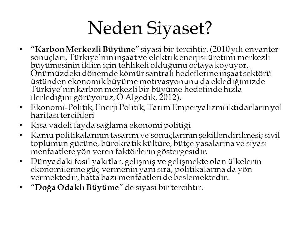 """Neden Siyaset? • """"Karbon Merkezli Büyüme"""" siyasi bir tercihtir. (2010 yılı envanter sonuçları, Türkiye'nin inşaat ve elektrik enerjisi üretimi merkezl"""