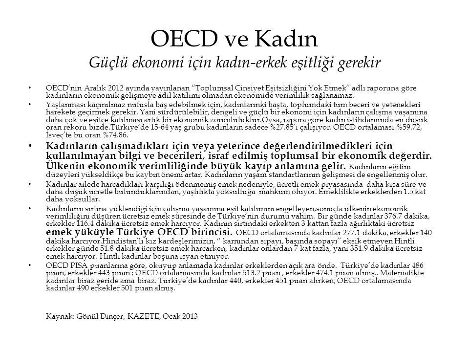 """OECD ve Kadın Güçlü ekonomi için kadın-erkek eşitliği gerekir • OECD'nin Aralık 2012 ayında yayınlanan """"Toplumsal Cinsiyet Eşitsizliğini Yok Etmek"""" ad"""