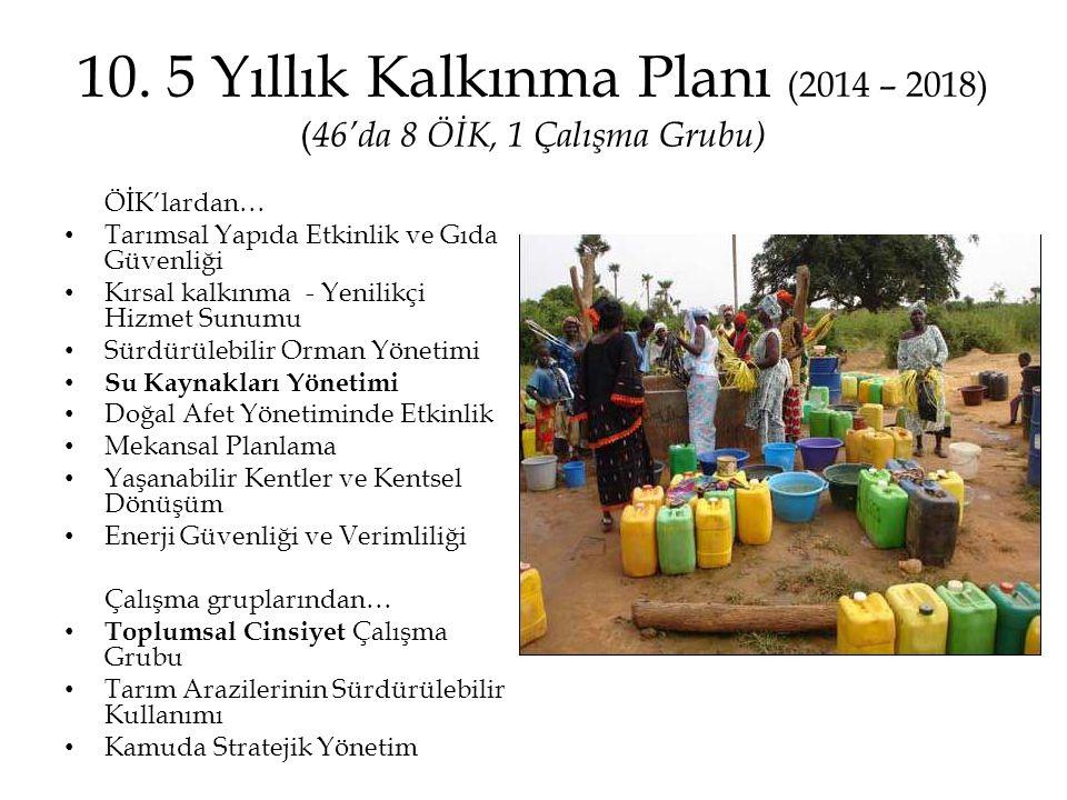 10. 5 Yıllık Kalkınma Planı (2014 – 2018) ( 46'da 8 ÖİK, 1 Çalışma Grubu) ÖİK'lardan… • Tarımsal Yapıda Etkinlik ve Gıda Güvenliği • Kırsal kalkınma -
