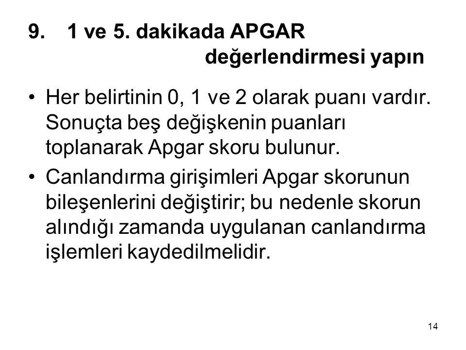 14 9.1 ve 5. dakikada APGAR değerlendirmesi yapın •Her belirtinin 0, 1 ve 2 olarak puanı vardır. Sonuçta beş değişkenin puanları toplanarak Apgar skor