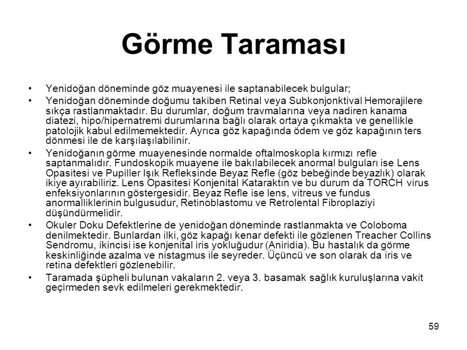 59 Görme Taraması •Yenidoğan döneminde göz muayenesi ile saptanabilecek bulgular; •Yenidoğan döneminde doğumu takiben Retinal veya Subkonjonktival Hem