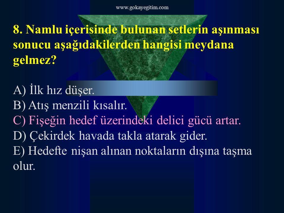 www.gokayegitim.com 9.Namlu ömrünü uzatmak için aşağıdakilerden hangisini yapmak gerekir.