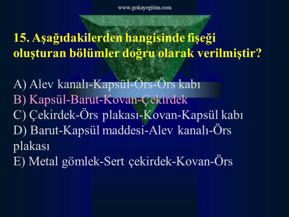 www.gokayegitim.com 16.Boş kovan dışarı atılmıyor ise sebebi aşağıdakilerden hangisidir.