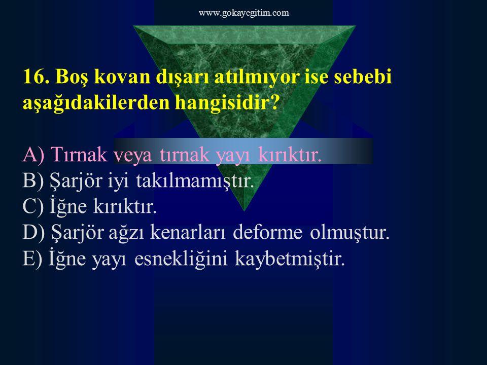 www.gokayegitim.com 17.Kapsül ateşlenmiyor ise sebebi aşağıdakilerden hangisidir.