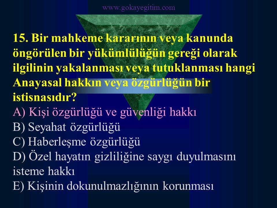 www.gokayegitim.com 16.Kişinin konut dokunulmazlığı hangi temel Anayasal hakkının bir parçasıdır.