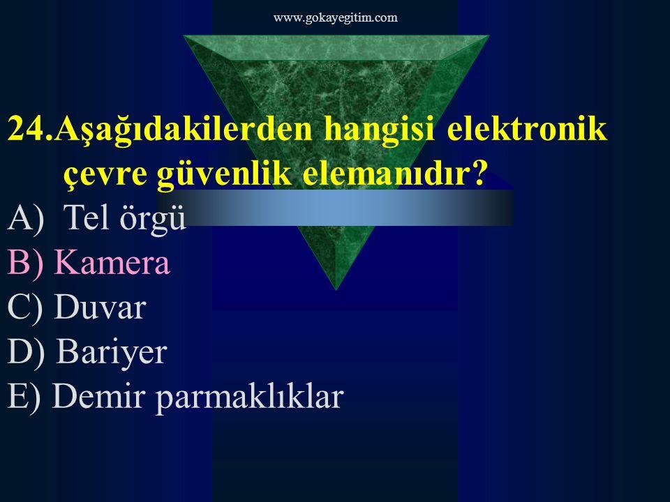 www.gokayegitim.com 25.Kapı tipi metal detektörler aşağıdakilerden hangisine alarm üretmez.