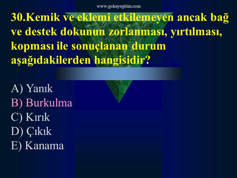 www.gokayegitim.com 31.Birinci derece yanık ile ilgili aşağıdakilerden hangisi yanlıştır.